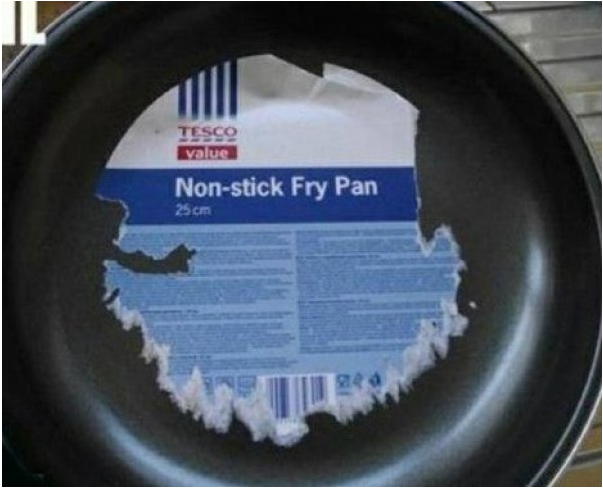 Removable label stuck to a non-stick pan