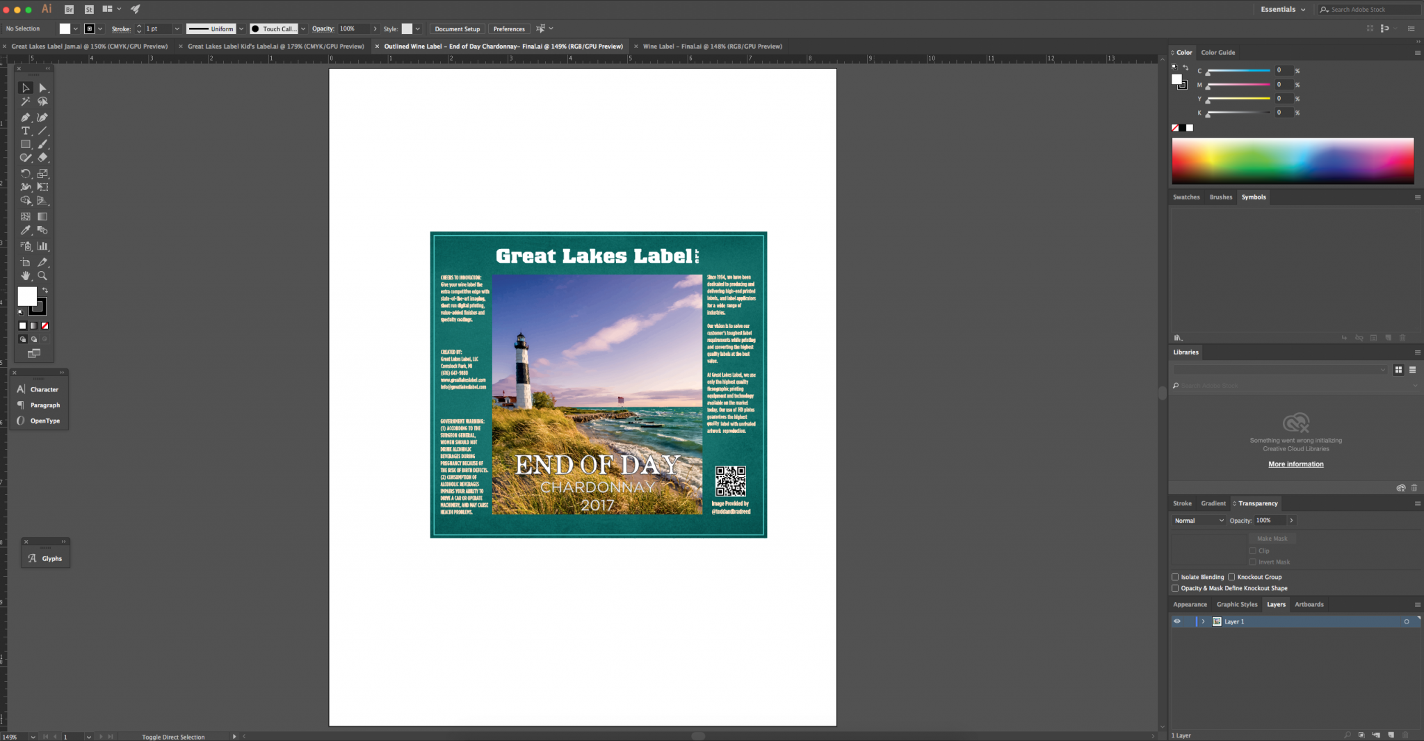 Great Lakes Label digital printed label in adobe illustrator - ai file