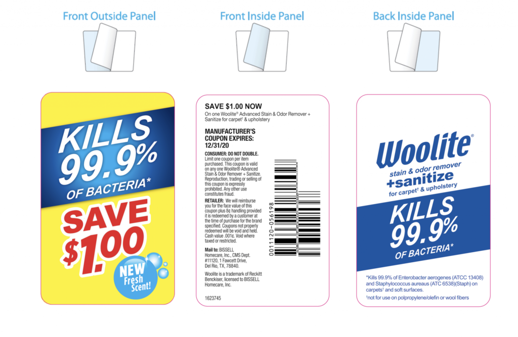 tri-panel coupon peel off label